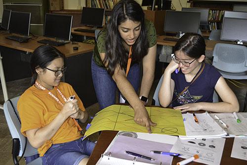Elizabeth Ayala (center), demonstrates to students how to play tic-tac-toe on a 2D representation of a cylinder.