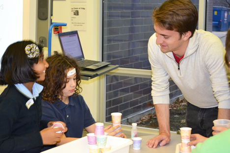 Nick Kopack works with BTW students during a Fall 2013 session at BTW.