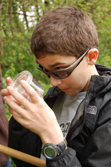 CPS student examines the insect he caught.