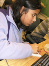 ECE 101 student works on project in lab.