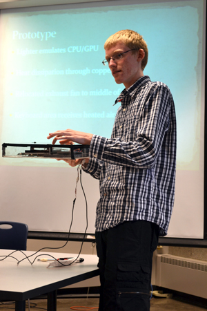 John Quarnstrom presents about the heated laptop project.