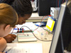 Girls learn about electric circuits at G.A.M.E.S. camp.