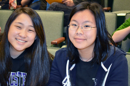 Marie Murphy contestants wait to compete in the  Illinois Science Olympiad.