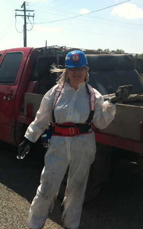 Lizanne DeStefano suited up to visit coal mine.
