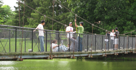 Smart Structures students examine suspension bridge.