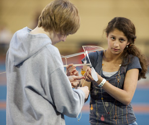 Science Olympiad participants at an event during the Illinois science Olympiad contest.