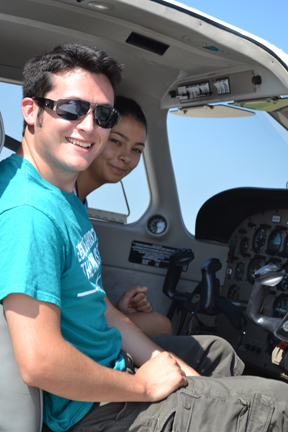 GAMES camper (left) and Flightstar instructor prepare for take off.