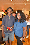 DJ Jackson (left), Centennial sophomore, and his mom, Antonia Jackson, at the Pygmalion Festival