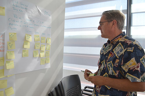 Terry Koker works on his team's action plan.