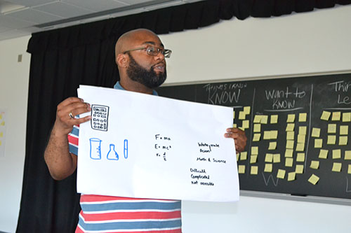 Vernon Rogers, the Diverse Learner Instructor at Sarah E. Goode STEM Academy, shows off his team's poster about students' perceptions of STEM, an activity during the first week of the institute.
