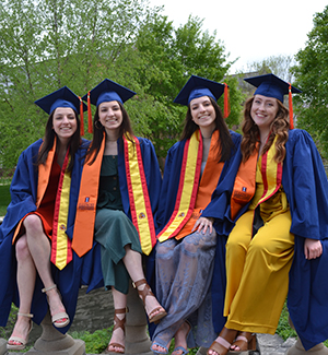 May '19 Industrial and System Engineering grads, Frances Ponicki, Teresa Ponicki, Mary Ponicki, and Siobhan Fox, ready for graduation.
