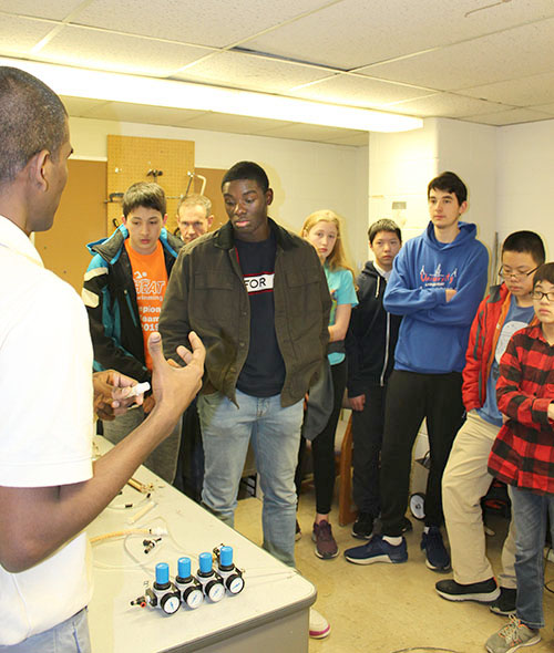 Uni High students experience soft robotics during a tour ISE Professor Girish Krishnan's Monolithic Systems Lab. (Image courtesy of Naveen Kumar Uppalapati.)