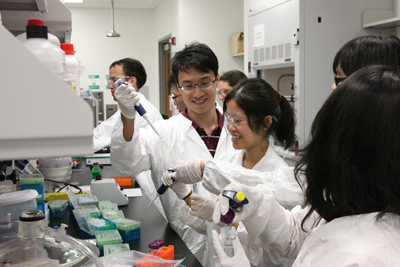 Students from the Taiwan contingent enjoying one of the lab modules.
