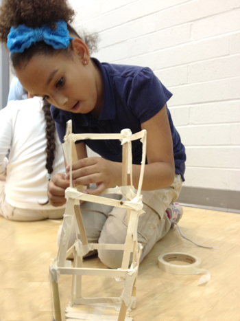 BTW student works on structure during Technology Club.
