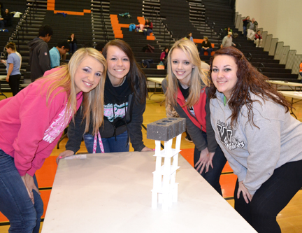 "Betabrain contestants display their successful tower in ""Notecard No Down."""