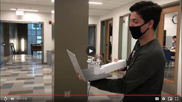 A video of BIOE senior Ben Salzberg testing his team's Ultrasonic Visual Aid shown during their final presentation.