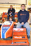 Front to back: Some leaders of the current SAE Formula team: team captain and president, Mike Bastanipour; Suspension Team leader & main driver, Keith Harris; Alex Allmandinger, Aerodynamics Team leader.