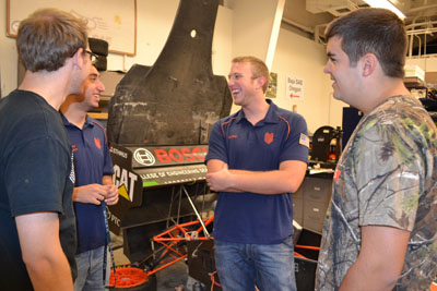 Formula SAE team members hanging out at the Engineering Students Project Lab