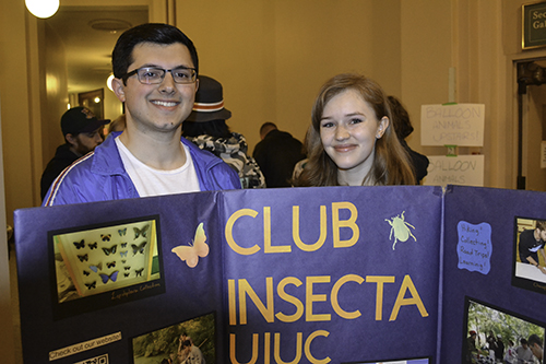 Two entomology students who helped with the Club Insecta exhibit