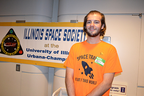 Illinois Space Society Membership Enrichment Director, Ben O'Hearn, at Illinois Space Day.