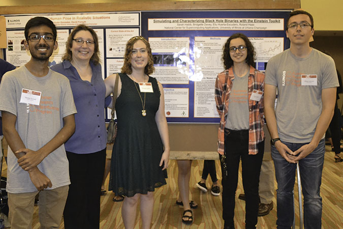 Gavin Ridley (second from the left) and some of his fellow INCLUSION REU participants at the 2017 Illinois Summer Research Symposium.
