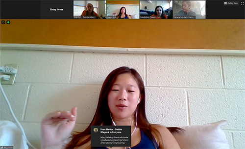 Freshman Leejun Kim asks a question during one of the Zoom sessions.