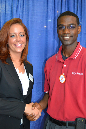 Christine Littrell and recruiter from ExxonMobile during recent Engineering Jobs Fair on campus.