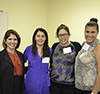 Left to right: Lt. Governor Evelyn Sanguinetti, and Ph.D. students Maria Chavarriago, Brenda Andrade, and Ariana Bravo, all members of the SACNAS organization.