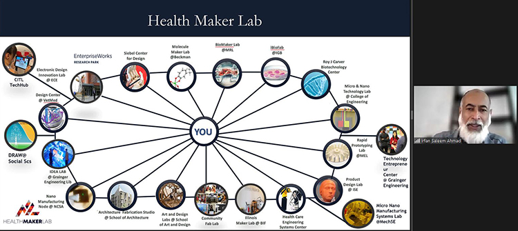 Ahmad is displaying a slide of the Health Maker Lab architecture during the Zoom orientation.