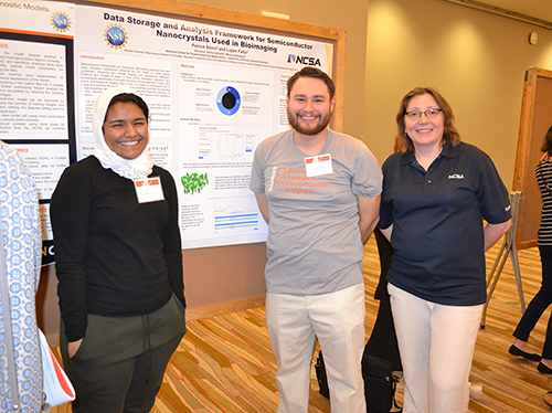 Left to right: INCLUSION REU participants Lujain Fatta and Patrick Shinn, along with Olena Kindratenko, INCLUSION co-PI  and project coordinator, at the Illinois Summer Research Symposium, where the two presented their research.