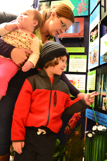 "A mother and her two children examine a display about ""Creatues That Are Not Afraid of the Dark."""