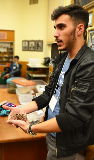 Graduate student in a Naturally Illinois exhibit on insects shows Cecil the Tarantula to Expo visitors.