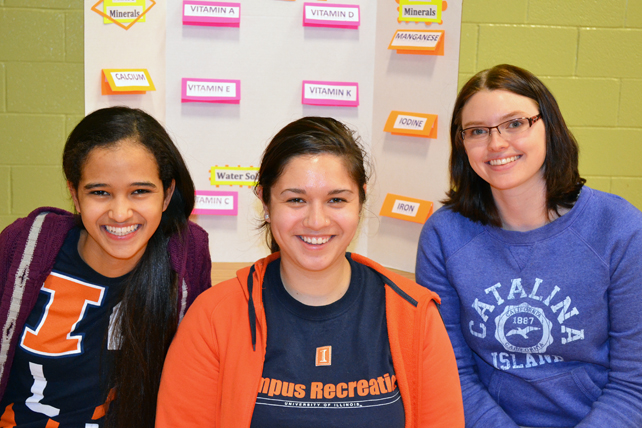 Walkyie Paula, Leyla Shinn, and Katie Brown during a recent outreach at Prairie Elementary School in Urbana.