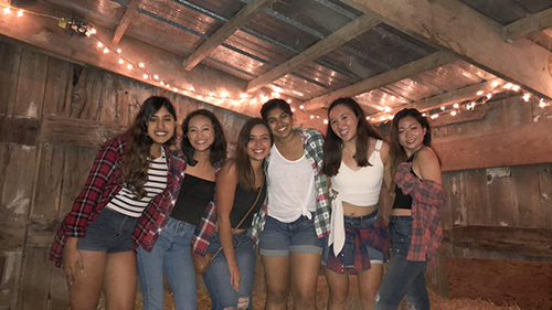 SWE members at their barn dance social event.