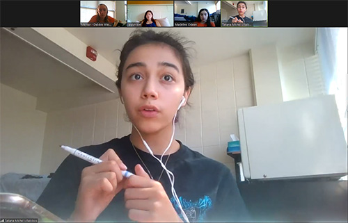 Aerospace Engineering freshman Tatiana Villalobos shares via Zoom during one of the breakout sessions.