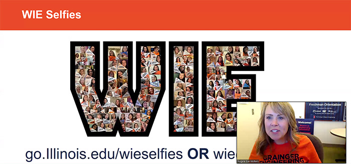 Angie Wolters (bottom right) shares the group photo of freshmen selfies taken with the Illinois pendant each made