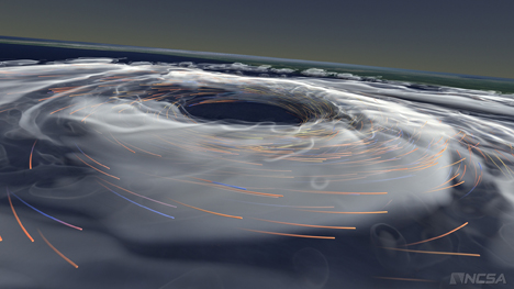 An image taken from the visualization of Hurricane Katrina forming. (Photo courtesy AVL.