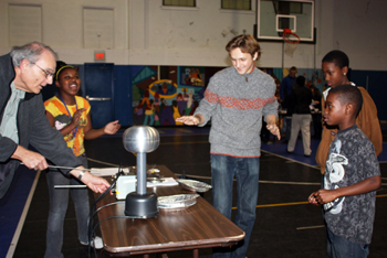 iRISE participants conducting experiment with Don Moyers' Boys and Girls Club students.