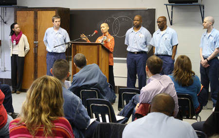 Rebecca Ginsburg, center, during an EJP event at the Danville Prison