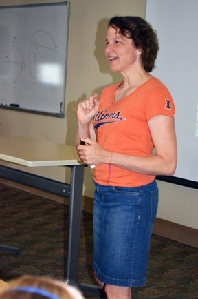 Cinda Heeren discusses some mathematical principles during one session of the camp
