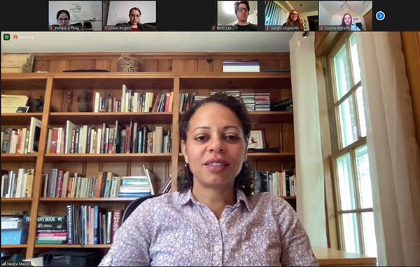 I-MRSEC PI Nadya Mason introduces REU undergrads to the Center during the Zoom REU Orientation.