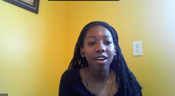 I-MRSEC REU undergrad Kamila Thompson asks a question during the Zoom REU Orientation.