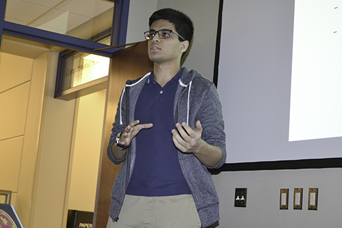 Siddharth Ahuja, mentored by Dr. Andre Schleife, presents his Lightning Talk: Incorporating Interactive Virtual Reality Technology in an Educational Environment