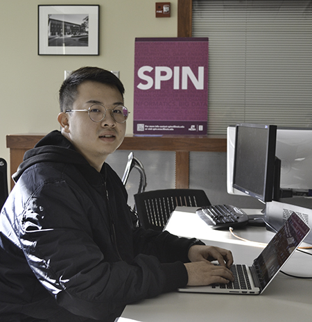 SPIN student Zekun Wei at work in  NCSA's SPIN office.
