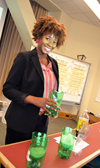 Allante Whitmore Stanley presents her Water Filtration project to teachers during the PIFSE workshop.